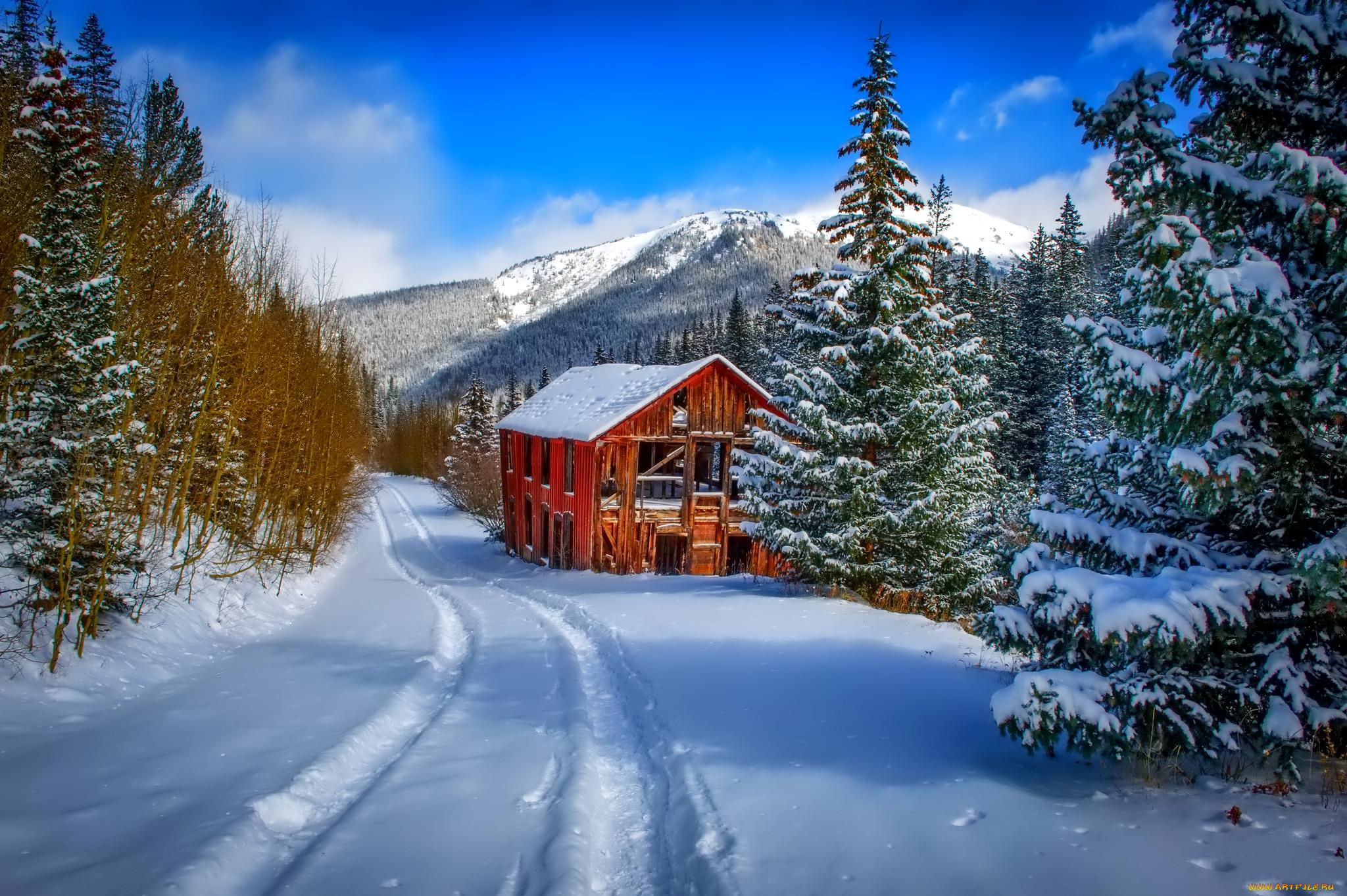 знаем историю домик в снегу фотообои для рабочего стола этого снимка